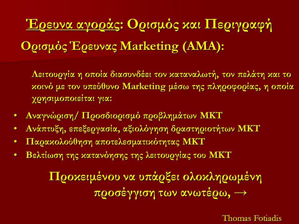 Έρευνα αγοράς: Ορισμός και Περιγραφή Ορισμός Έρευνας Marketing (AMA): Λειτουργία η οποία διασυνδέει τον καταναλωτή, τον πελάτη και το κοινό με τον υπεύθυνο Marketing μέσω της πληροφορίας, η οποία χρησιμοποιείται για: Αναγνώριση/ Προσδιορισμό προβλημάτων ΜΚΤΑναγνώριση/ Προσδιορισμό προβλημάτων ΜΚΤ Ανάπτυξη, επεξεργασία, αξιολόγηση δραστηριοτήτων ΜΚΤΑνάπτυξη, επεξεργασία, αξιολόγηση δραστηριοτήτων ΜΚΤ Παρακολούθηση αποτελεσματικότητας ΜΚΤΠαρακολούθηση αποτελεσματικότητας ΜΚΤ Βελτίωση της κατανόησης της λειτουργίας του ΜΚΤΒελτίωση της κατανόησης της λειτουργίας του ΜΚΤ Προκειμένου να υπάρξει ολοκληρωμένη προσέγγιση των ανωτέρω, → Thomas Fotiadis