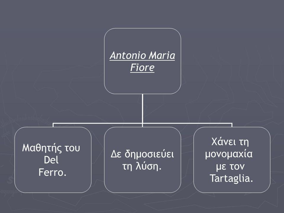 Antonio Maria Fiore Μαθητής του Del Ferro. Δε δημοσιεύει τη λύση. Χάνει τη μονομαχία με τον Tartaglia.