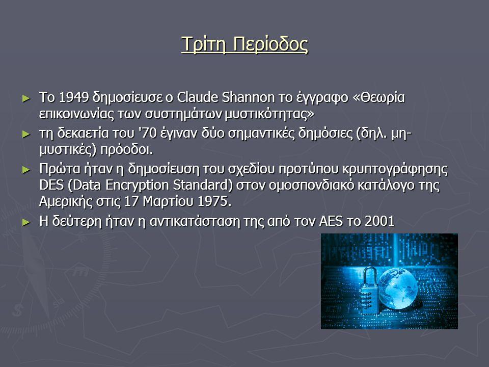 Τρίτη Περίοδος ► Το 1949 δημοσίευσε ο Claude Shannon το έγγραφο «Θεωρία επικοινωνίας των συστημάτων μυστικότητας» ► τη δεκαετία του '70 έγιναν δύο σημ