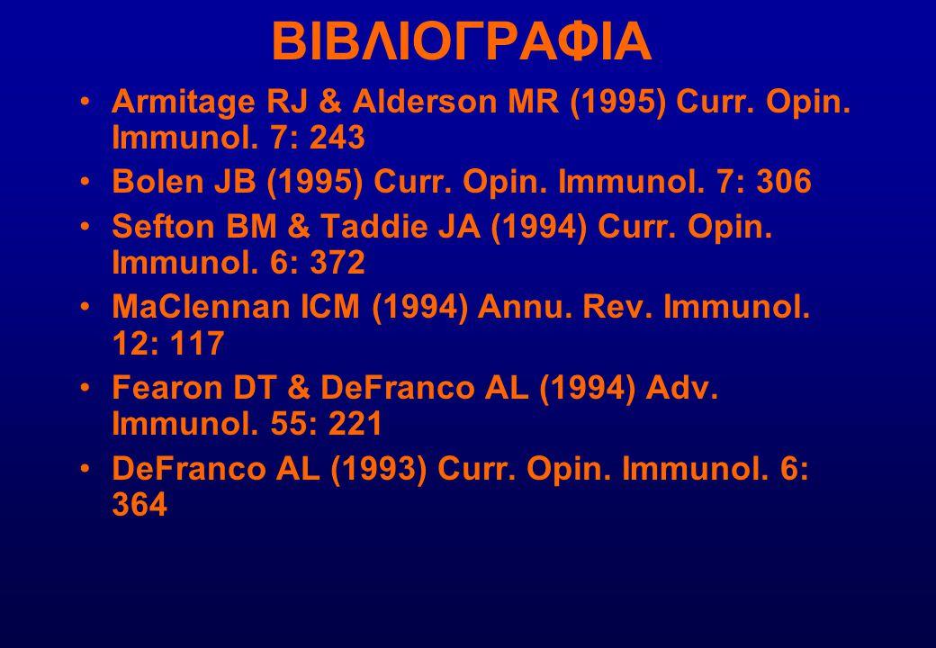 ΒΙΒΛΙΟΓΡΑΦΙΑ Armitage RJ & Alderson MR (1995) Curr. Opin. Immunol. 7: 243 Bolen JB (1995) Curr. Opin. Immunol. 7: 306 Sefton BM & Taddie JA (1994) Cur