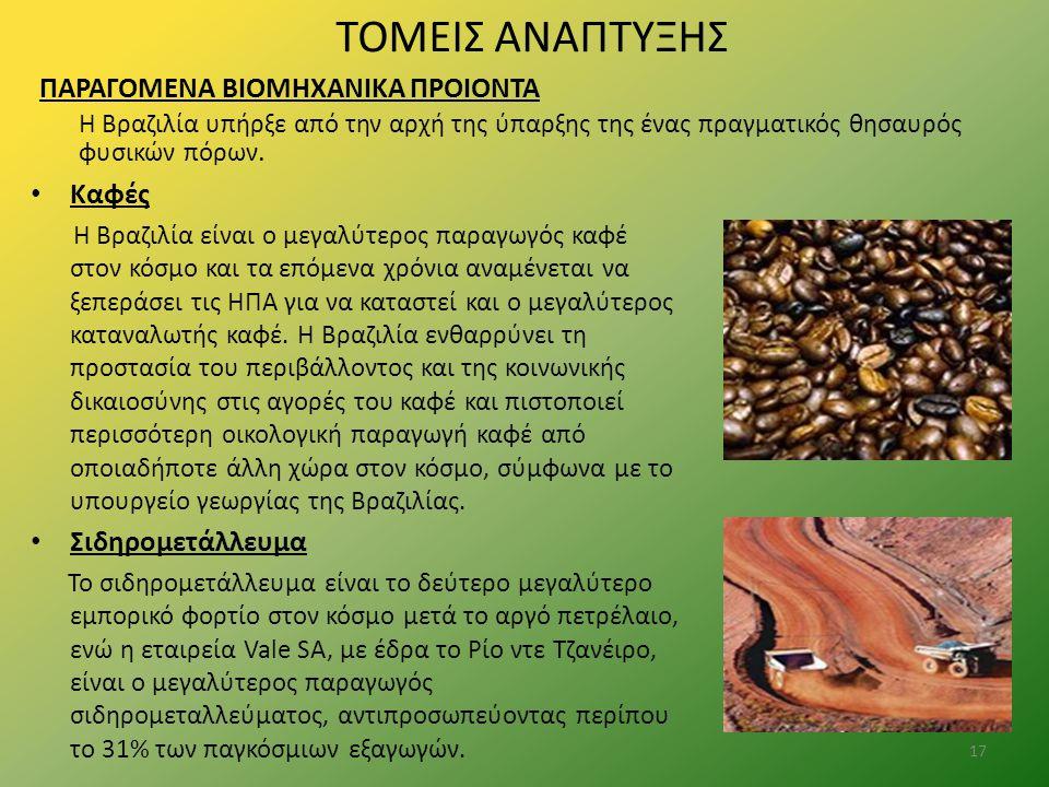 ΤΟΜΕΙΣ ΑΝΑΠΤΥΞΗΣ ΠΑΡΑΓΟΜΕΝΑ ΒΙΟΜΗΧΑΝΙΚΑ ΠΡΟΙΟΝΤΑ Η Βραζιλία υπήρξε από την αρχή της ύπαρξης της ένας πραγματικός θησαυρός φυσικών πόρων. Καφές Η Βραζι