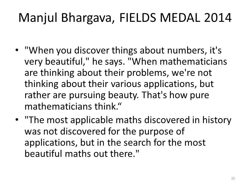 Manjul Bhargava, FIELDS MEDAL 2014