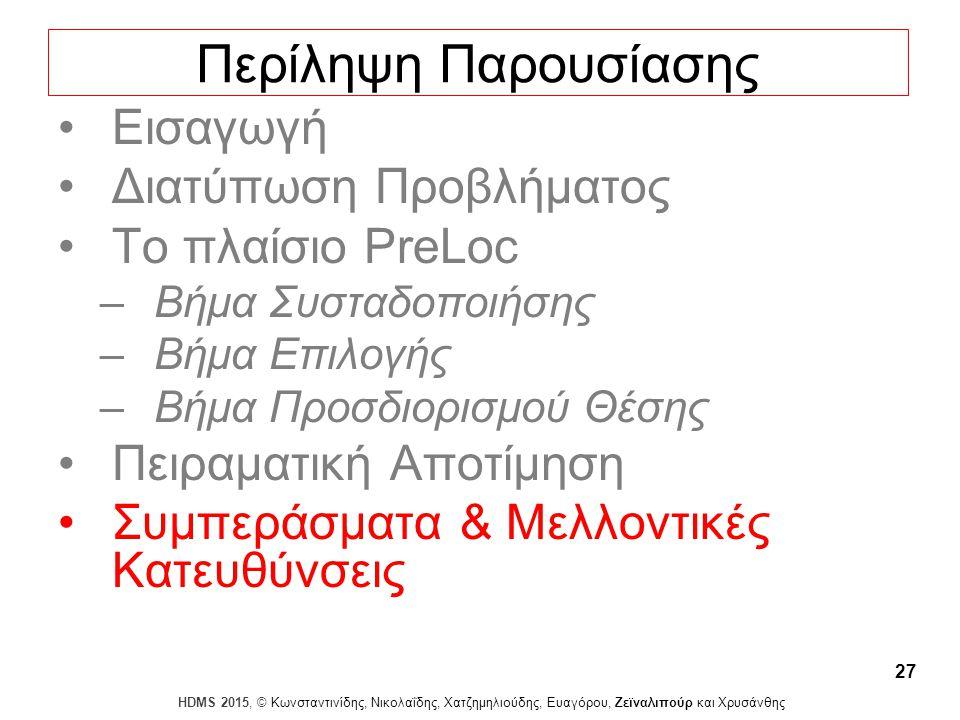 Dagstuhl Seminar 10042, Demetris Zeinalipour, University of Cyprus, 26/1/2010 HDMS 2015, © Κωνσταντινίδης, Νικολαΐδης, Χατζημηλιούδης, Ευαγόρου, Ζεϊναλιπούρ και Χρυσάνθης 27 Περίληψη Παρουσίασης Εισαγωγή Διατύπωση Προβλήματος Το πλαίσιο PreLoc –Βήμα Συσταδοποιήσης –Βήμα Επιλογής –Βήμα Προσδιορισμού Θέσης Πειραματική Αποτίμηση Συμπεράσματα & Μελλοντικές Κατευθύνσεις