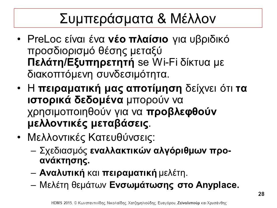 Dagstuhl Seminar 10042, Demetris Zeinalipour, University of Cyprus, 26/1/2010 HDMS 2015, © Κωνσταντινίδης, Νικολαΐδης, Χατζημηλιούδης, Ευαγόρου, Ζεϊναλιπούρ και Χρυσάνθης 28 PreLoc είναι ένα νέο πλαίσιο για υβριδικό προσδιορισμό θέσης μεταξύ Πελάτη/Εξυπηρετητή se Wi-Fi δίκτυα με διακοπτόμενη συνδεσιμότητα.
