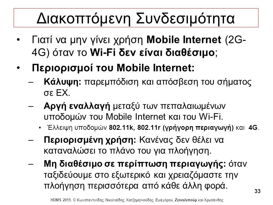 Dagstuhl Seminar 10042, Demetris Zeinalipour, University of Cyprus, 26/1/2010 HDMS 2015, © Κωνσταντινίδης, Νικολαΐδης, Χατζημηλιούδης, Ευαγόρου, Ζεϊναλιπούρ και Χρυσάνθης 33 Διακοπτόμενη Συνδεσιμότητα Γιατί να μην γίνει χρήση Mobile Internet (2G- 4G) όταν το Wi-Fi δεν είναι διαθέσιμο; Περιορισμοί του Mobile Internet: –Κάλυψη: παρεμπόδιση και απόσβεση του σήματος σε ΕΧ.