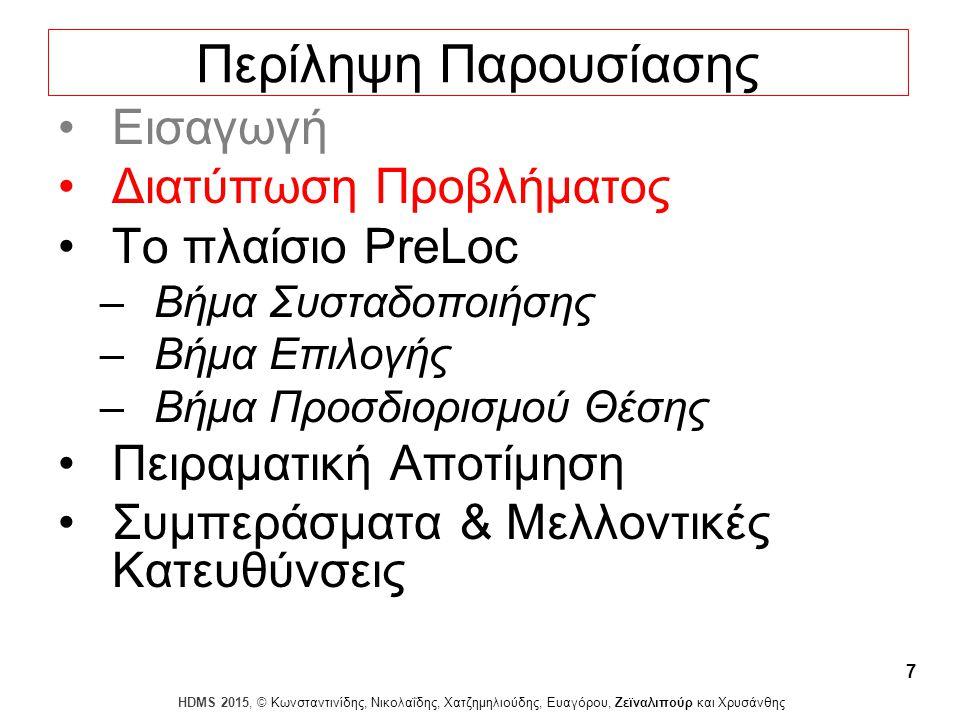 Dagstuhl Seminar 10042, Demetris Zeinalipour, University of Cyprus, 26/1/2010 HDMS 2015, © Κωνσταντινίδης, Νικολαΐδης, Χατζημηλιούδης, Ευαγόρου, Ζεϊναλιπούρ και Χρυσάνθης 7 Περίληψη Παρουσίασης Εισαγωγή Διατύπωση Προβλήματος Το πλαίσιο PreLoc –Βήμα Συσταδοποιήσης –Βήμα Επιλογής –Βήμα Προσδιορισμού Θέσης Πειραματική Αποτίμηση Συμπεράσματα & Μελλοντικές Κατευθύνσεις