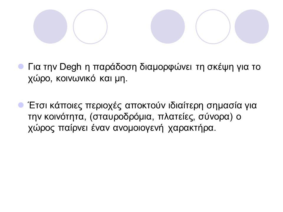 Για την Degh η παράδοση διαμορφώνει τη σκέψη για το χώρο, κοινωνικό και μη.
