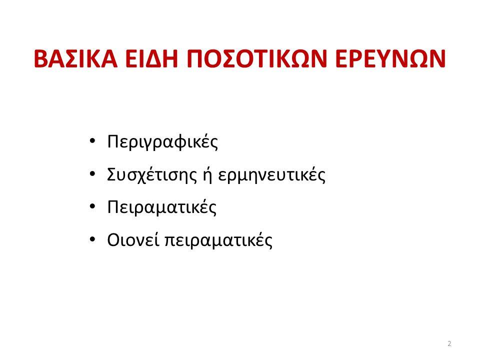 ΒΑΣΙΚΑ ΕΙΔΗ ΠΟΣΟΤΙΚΩΝ ΕΡΕΥΝΩΝ Περιγραφικές Συσχέτισης ή ερμηνευτικές Πειραματικές Οιονεί πειραματικές 2