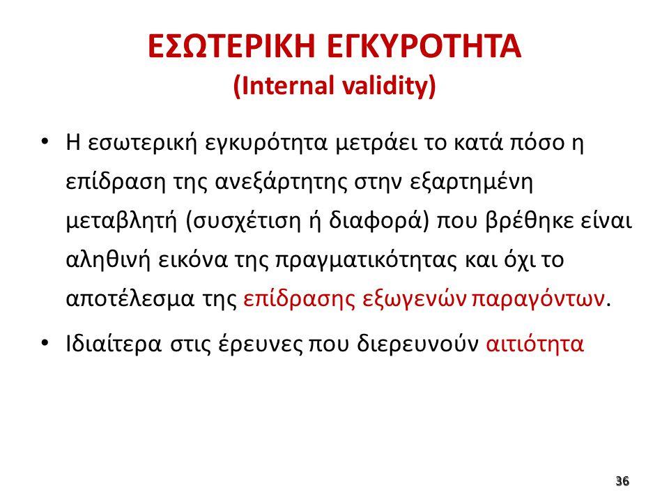 ΕΣΩΤΕΡΙΚΗ ΕΓΚΥΡΟΤΗΤΑ (Internal validity) Η εσωτερική εγκυρότητα μετράει το κατά πόσο η επίδραση της ανεξάρτητης στην εξαρτημένη μεταβλητή (συσχέτιση ή διαφορά) που βρέθηκε είναι αληθινή εικόνα της πραγματικότητας και όχι το αποτέλεσμα της επίδρασης εξωγενών παραγόντων.