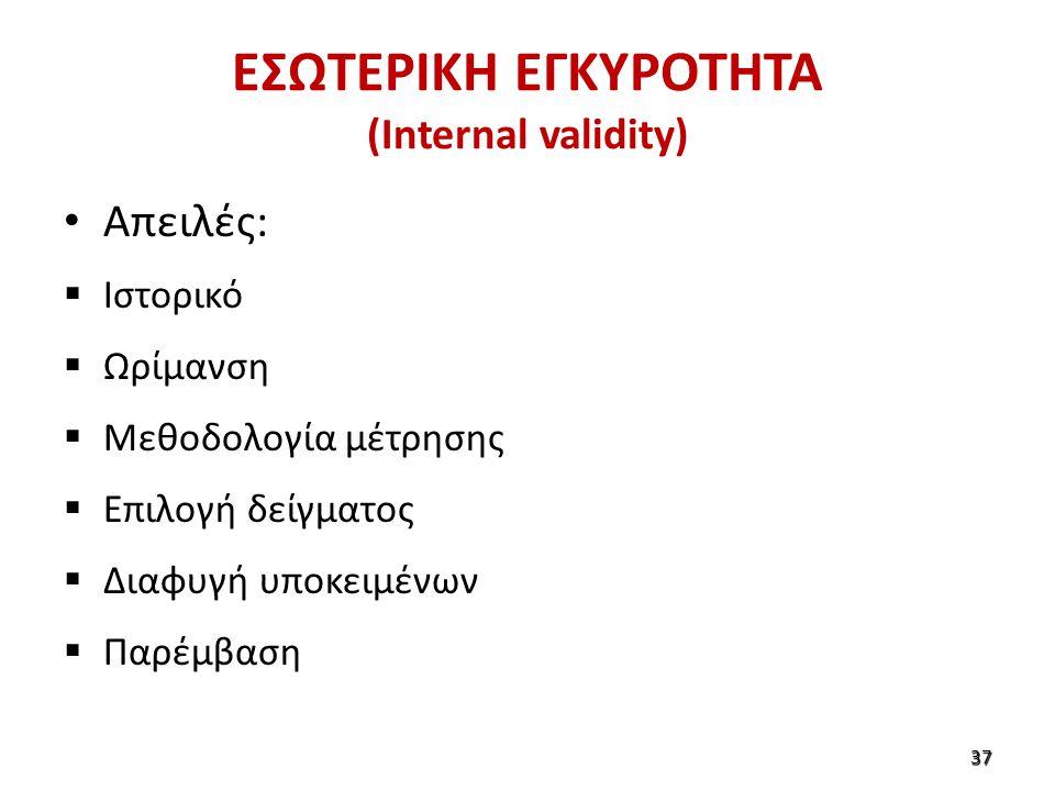 ΕΣΩΤΕΡΙΚΗ ΕΓΚΥΡΟΤΗΤΑ (Internal validity) Απειλές:  Ιστορικό  Ωρίμανση  Μεθοδολογία μέτρησης  Επιλογή δείγματος  Διαφυγή υποκειμένων  Παρέμβαση 37