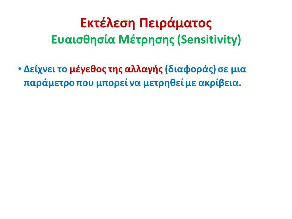 Εκτέλεση Πειράματος Ευαισθησία Μέτρησης (Sensitivity) Δείχνει το μέγεθος της αλλαγής (διαφοράς) σε μια παράμετρο που μπορεί να μετρηθεί με ακρίβεια.