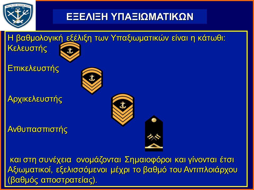 ΕΞΕΛΙΞΗ ΥΠΑΞΙΩΜΑΤΙΚΩΝ Η βαθμολογική εξέλιξη των Υπαξιωματικών είναι η κάτωθι: ΚελευστήςΕπικελευστήςΑρχικελευστήςΑνθυπασπιστής και στη συνέχεια ονομάζονται Σημαιοφόροι και γίνονται έτσι Αξιωματικοί, εξελισσόμενοι μέχρι το βαθμό του Αντιπλοιάρχου (βαθμός αποστρατείας).