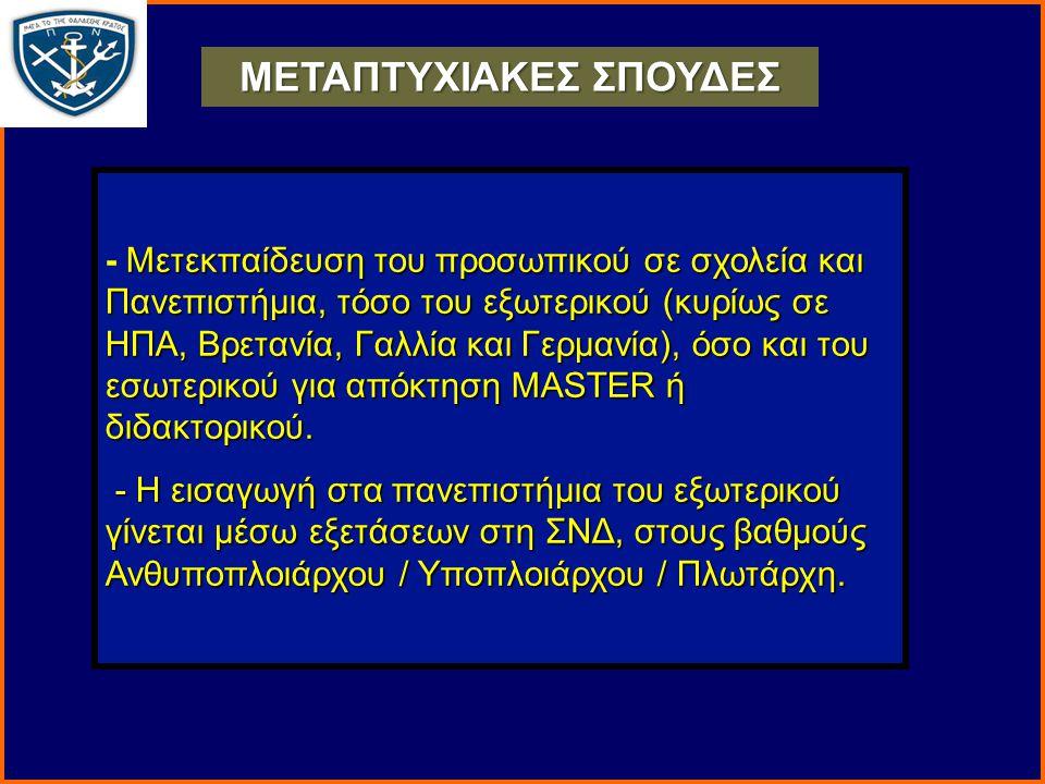 Μετεκπαίδευση του προσωπικού σε σχολεία και Πανεπιστήμια, τόσο του εξωτερικού (κυρίως σε ΗΠΑ, Βρετανία, Γαλλία και Γερμανία), όσο και του εσωτερικού για απόκτηση MASTER ή διδακτορικού.