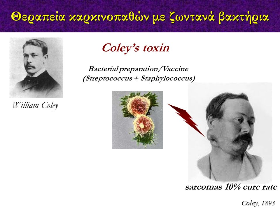 Coley, 1893 William Coley Coley's toxin Bacterial preparation/Vaccine (Streptococcus + Staphylococcus) sarcomas 10% cure rate Θεραπεία καρκινοπαθών με