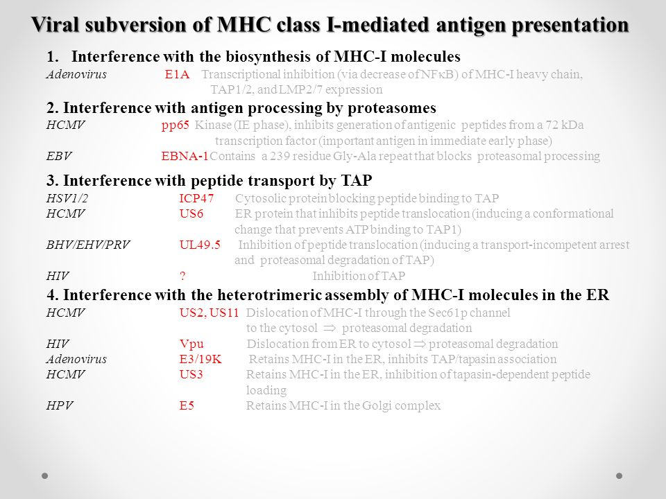 Viral subversion of MHC class I-mediated antigen presentation 1.Interference with the biosynthesis of MHC-I molecules Adenovirus E1A Transcriptional inhibition (via decrease of NF  B) of MHC-I heavy chain, TAP1/2, and LMP2/7 expression 2.