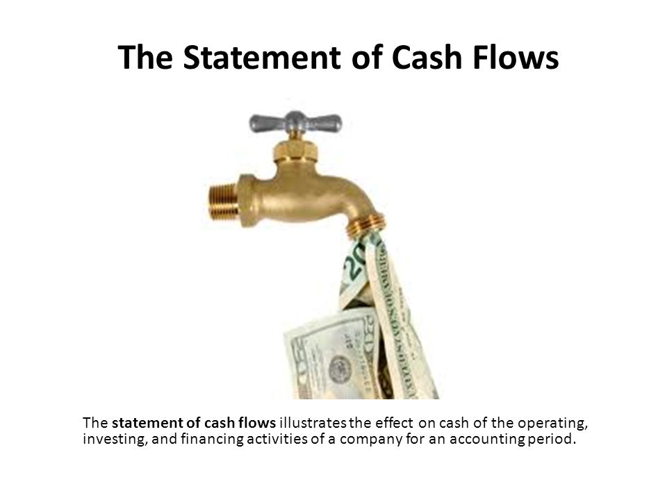 The Statement of Cash Flows The statement of cash flows illustrates the effect on cash of the operating, investing, and financing activities of a company for an accounting period.