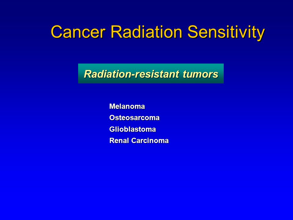 Cancer Radiation Sensitivity MelanomaOsteosarcomaGlioblastoma Renal Carcinoma Radiation-resistant tumors