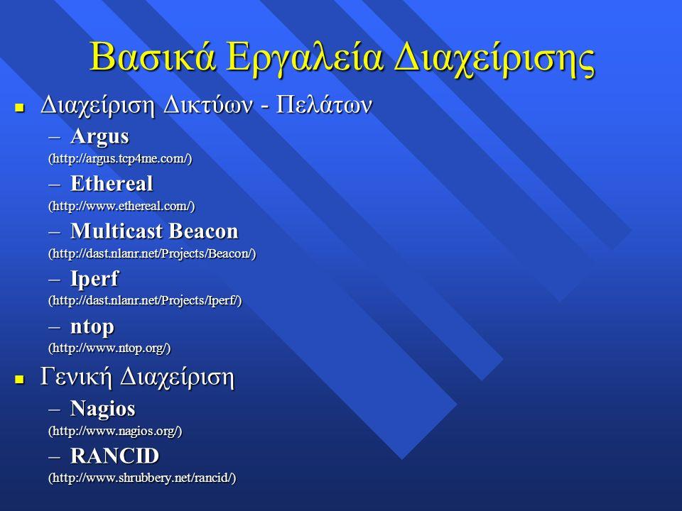 Βασικά Εργαλεία Διαχείρισης n Διαχείριση Δικτύων - Πελάτων –Argus (http://argus.tcp4me.com/) –Ethereal (http://www.ethereal.com/) –Multicast Beacon (http://dast.nlanr.net/Projects/Beacon/) –Iperf (http://dast.nlanr.net/Projects/Iperf/) –ntop (http://www.ntop.org/) n Γενική Διαχείριση –Nagios (http://www.nagios.org/) –RANCID (http://www.shrubbery.net/rancid/)