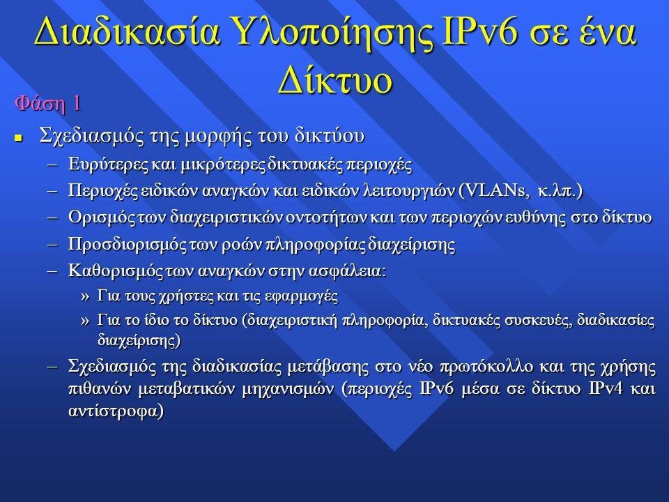 Διαδικασία Υλοποίησης IPv6 σε ένα Δίκτυο Φάση 1 n Σχεδιασμός της μορφής του δικτύου –Ευρύτερες και μικρότερες δικτυακές περιοχές –Περιοχές ειδικών αναγκών και ειδικών λειτουργιών (VLANs, κ.λπ.) –Ορισμός των διαχειριστικών οντοτήτων και των περιοχών ευθύνης στο δίκτυο –Προσδιορισμός των ροών πληροφορίας διαχείρισης –Καθορισμός των αναγκών στην ασφάλεια: »Για τους χρήστες και τις εφαρμογές »Για το ίδιο το δίκτυο (διαχειριστική πληροφορία, δικτυακές συσκευές, διαδικασίες διαχείρισης) –Σχεδιασμός της διαδικασίας μετάβασης στο νέο πρωτόκολλο και της χρήσης πιθανών μεταβατικών μηχανισμών (περιοχές IPv6 μέσα σε δίκτυο IPv4 και αντίστροφα)