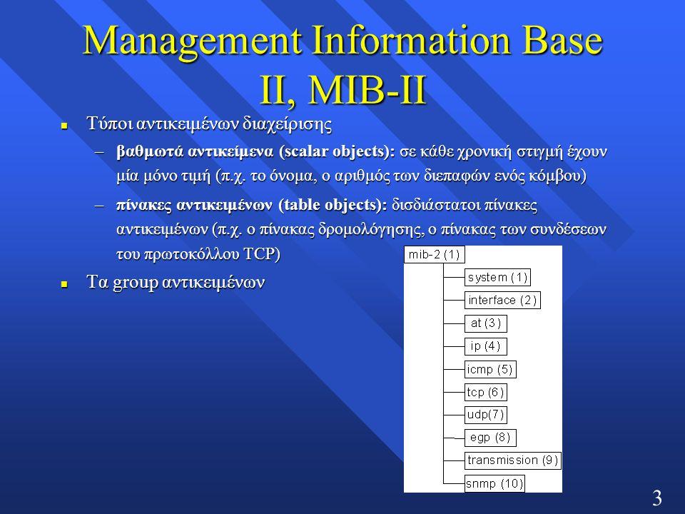 30 Management Information Base ΙΙ, MIB-ΙΙ n Τύποι αντικειμένων διαχείρισης –βαθμωτά αντικείμενα (scalar objects): σε κάθε χρονική στιγμή έχουν μία μόνο τιμή (π.χ.
