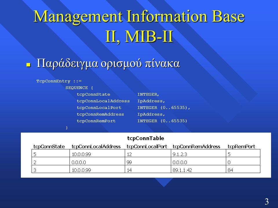 32 Management Information Base ΙΙ, MIB-ΙΙ Παράδειγμα ορισμού πίνακα Παράδειγμα ορισμού πίνακα TcpConnEntry ::= SEQUENCE { tcpConnStateΙNTEGER, tcpConnLocalAddressΙpAddress, tcpConnLocalPortINTEGER (0..65535), tcpConnRemAddressIpAddress, tcpConnRemPortINTEGER (0..65535) }