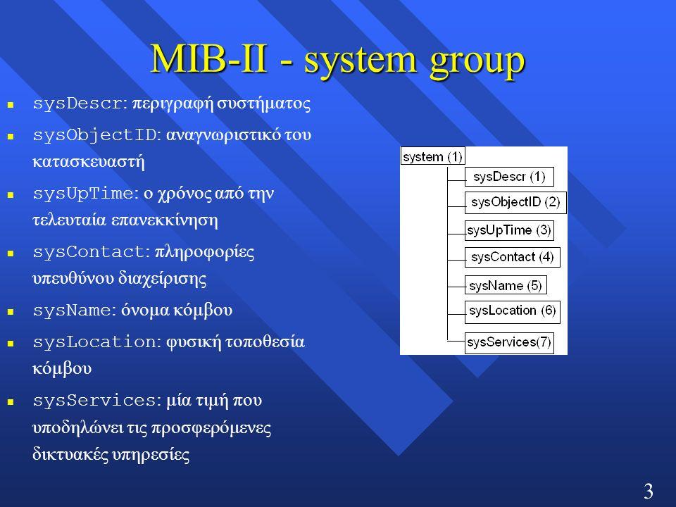 33 MIB-ΙΙ - system group sysDescr : περιγραφή συστήματος sysObjectID : αναγνωριστικό του κατασκευαστή sysUpTime : ο χρόνος από την τελευταία επανεκκίνηση sysContact : πληροφορίες υπευθύνου διαχείρισης sysName : όνομα κόμβου sysLocation : φυσική τοποθεσία κόμβου sysServices : μία τιμή που υποδηλώνει τις προσφερόμενες δικτυακές υπηρεσίες