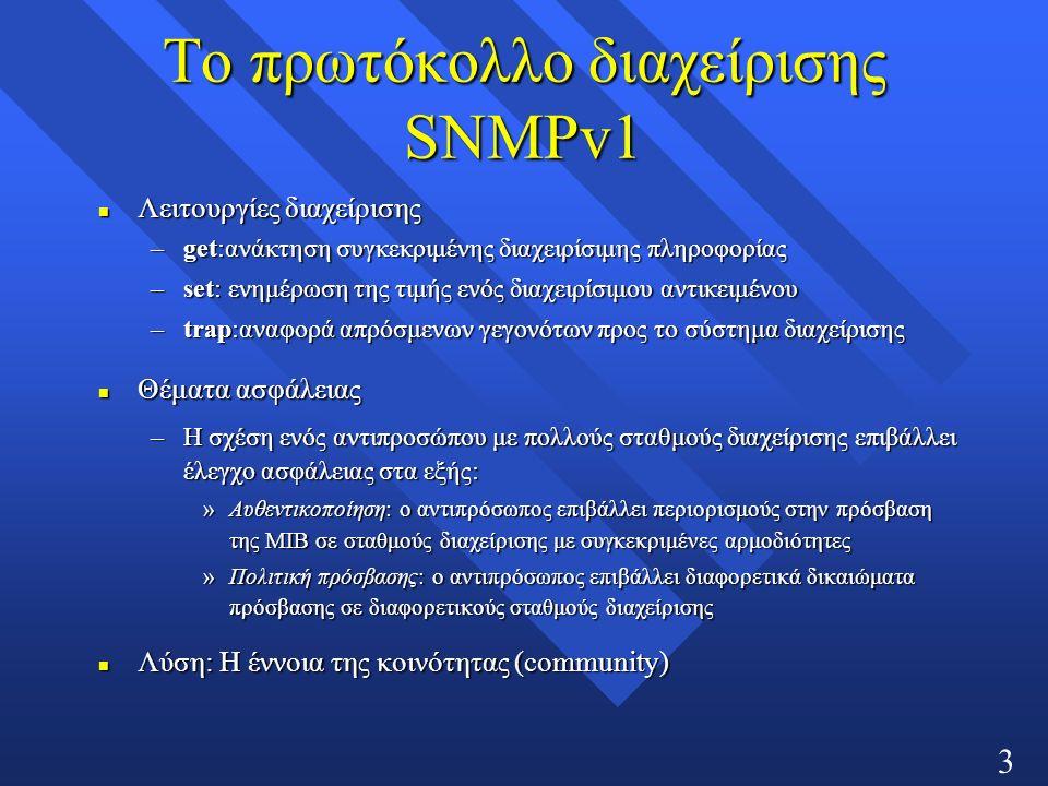 36 Το πρωτόκολλο διαχείρισης SNMPv1 n Λειτουργίες διαχείρισης –get:ανάκτηση συγκεκριμένης διαχειρίσιμης πληροφορίας –set: ενημέρωση της τιμής ενός διαχειρίσιμου αντικειμένου –trap:αναφορά απρόσμενων γεγονότων προς το σύστημα διαχείρισης n Θέματα ασφάλειας –Η σχέση ενός αντιπροσώπου με πολλούς σταθμούς διαχείρισης επιβάλλει έλεγχο ασφάλειας στα εξής: »Αυθεντικοποίηση: ο αντιπρόσωπος επιβάλλει περιορισμούς στην πρόσβαση της ΜΙΒ σε σταθμούς διαχείρισης με συγκεκριμένες αρμοδιότητες »Πολιτική πρόσβασης: ο αντιπρόσωπος επιβάλλει διαφορετικά δικαιώματα πρόσβασης σε διαφορετικούς σταθμούς διαχείρισης n Λύση: Η έννοια της κοινότητας (community)