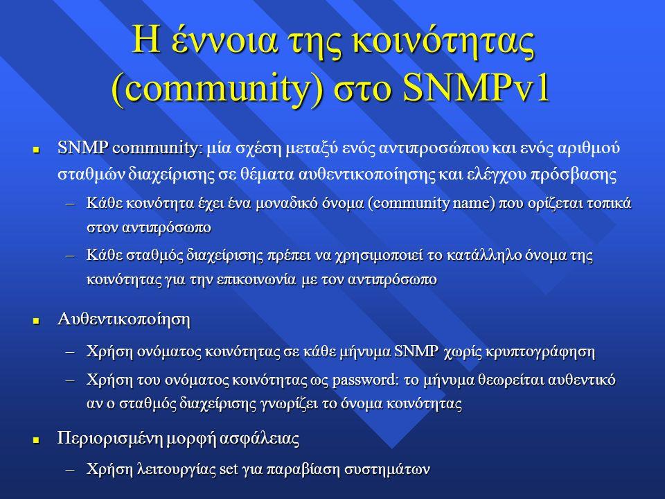 Η έννοια της κοινότητας (community) στο SNMPv1 n SNMP community: n SNMP community: μία σχέση μεταξύ ενός αντιπροσώπου και ενός αριθμού σταθμών διαχείρισης σε θέματα αυθεντικοποίησης και ελέγχου πρόσβασης –Κάθε κοινότητα έχει ένα μοναδικό όνομα (community name) που ορίζεται τοπικά στον αντιπρόσωπο –Κάθε σταθμός διαχείρισης πρέπει να χρησιμοποιεί το κατάλληλο όνομα της κοινότητας για την επικοινωνία με τον αντιπρόσωπο n Αυθεντικοποίηση –Χρήση ονόματος κοινότητας σε κάθε μήνυμα SNMP χωρίς κρυπτογράφηση –Χρήση του ονόματος κοινότητας ως password: το μήνυμα θεωρείται αυθεντικό αν ο σταθμός διαχείρισης γνωρίζει το όνομα κοινότητας n Περιορισμένη μορφή ασφάλειας –Χρήση λειτουργίας set για παραβίαση συστημάτων