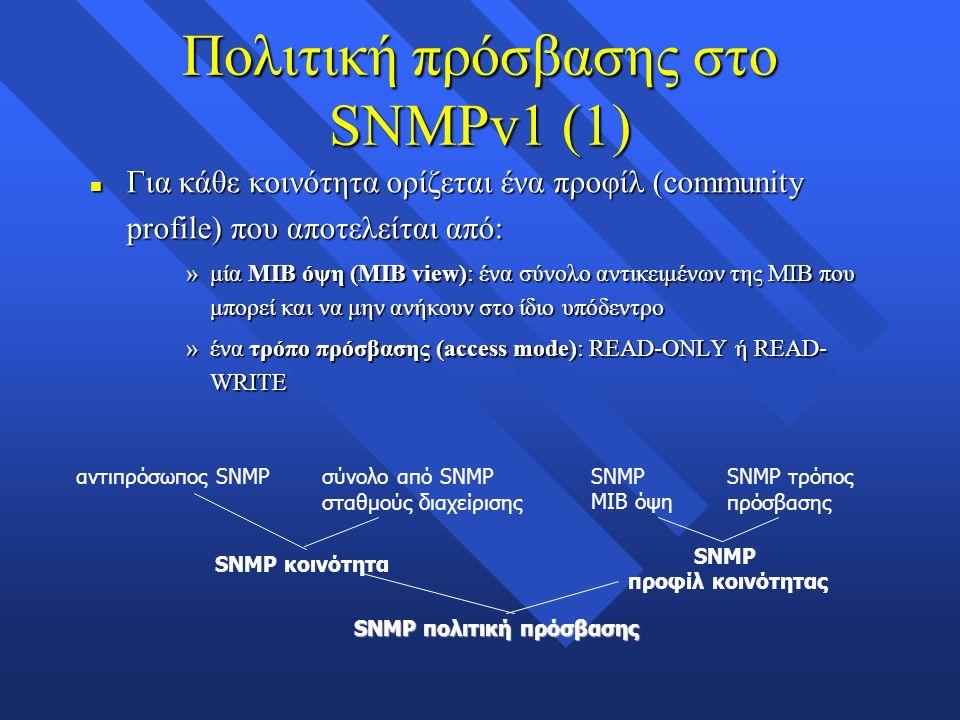 Πολιτική πρόσβασης στο SNMPv1 (1) n Για κάθε κοινότητα ορίζεται ένα προφίλ (community profile) που αποτελείται από: »μία ΜΙΒ όψη (MIB view): ένα σύνολο αντικειμένων της ΜΙΒ που μπορεί και να μην ανήκουν στο ίδιο υπόδεντρο »ένα τρόπο πρόσβασης (access mode): READ-ONLY ή READ- WRITE αντιπρόσωπος SNMPσύνολο από SNMP σταθμούς διαχείρισης SNMP ΜΙΒ όψη SNMP τρόπος πρόσβασης SNMP κοινότητα SNMP προφίλ κοινότητας SNMP πολιτική πρόσβασης