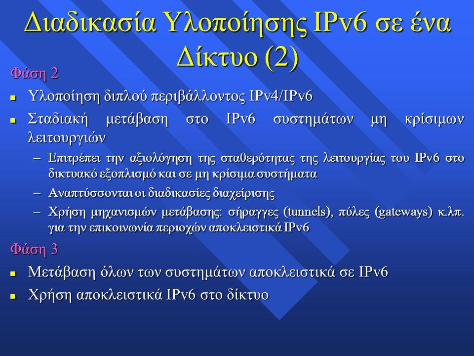 Διαδικασία Υλοποίησης IPv6 σε ένα Δίκτυο (2) Φάση 2 n Υλοποίηση διπλού περιβάλλοντος IPv4/IPv6 n Σταδιακή μετάβαση στο IPv6 συστημάτων μη κρίσιμων λειτουργιών –Επιτρέπει την αξιολόγηση της σταθερότητας της λειτουργίας του IPv6 στο δικτυακό εξοπλισμό και σε μη κρίσιμα συστήματα –Αναπτύσσονται οι διαδικασίες διαχείρισης –Χρήση μηχανισμών μετάβασης: σήραγγες (tunnels), πύλες (gateways) κ.λπ.