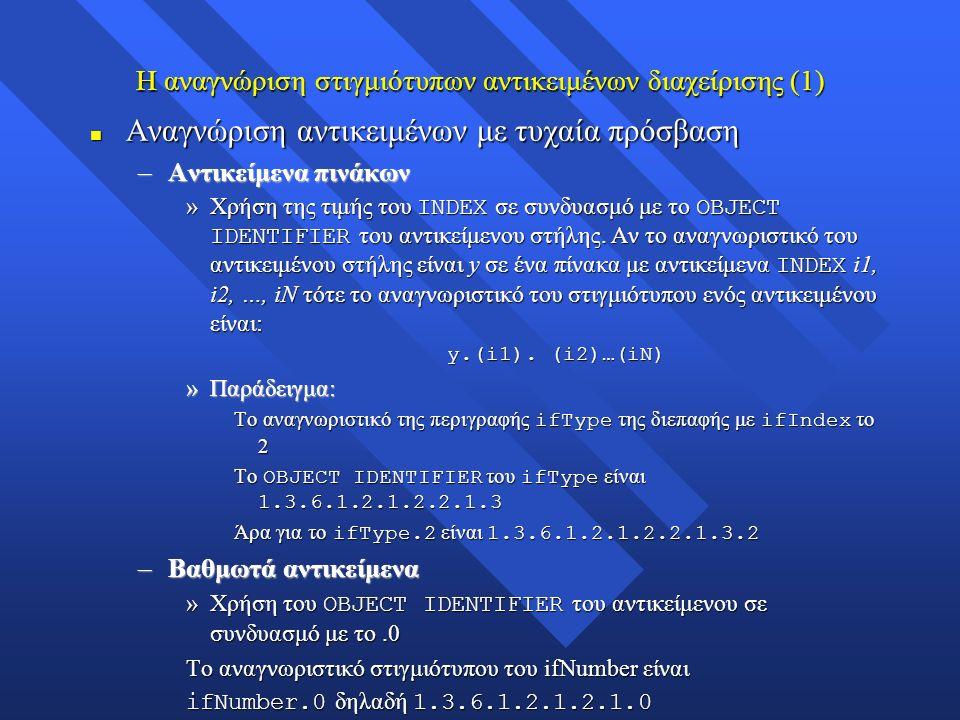 Η αναγνώριση στιγμιότυπων αντικειμένων διαχείρισης (1) n Αναγνώριση αντικειμένων με τυχαία πρόσβαση –Αντικείμενα πινάκων »Χρήση της τιμής του INDEX σε συνδυασμό με το OBJECT IDENTIFIER του αντικείμενου στήλης.