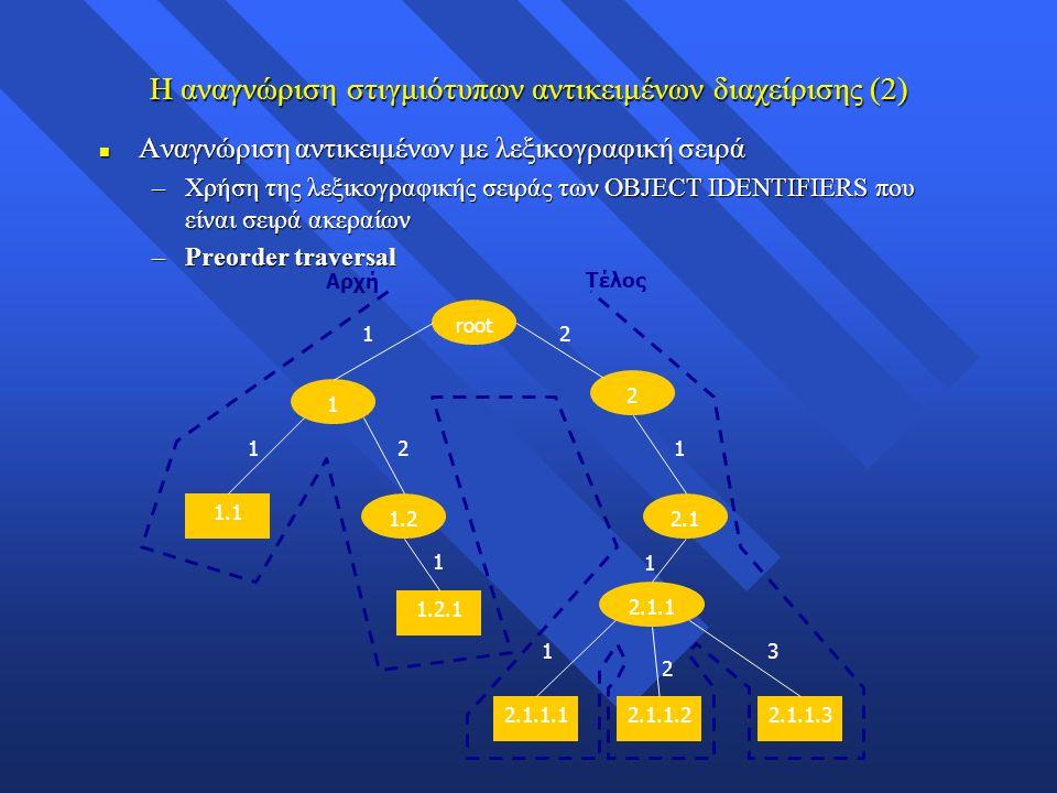 Η αναγνώριση στιγμιότυπων αντικειμένων διαχείρισης (2) n Αναγνώριση αντικειμένων με λεξικογραφική σειρά –Χρήση της λεξικογραφικής σειράς των OBJECT IDENTIFIERS που είναι σειρά ακεραίων –Preorder traversal root 1 1.2 1.1 1.2.1 2 2.1 2.1.1 2.1.1.12.1.1.22.1.1.3 1 1 1 1 1 1 2 2 2 3 Αρχή Τέλος