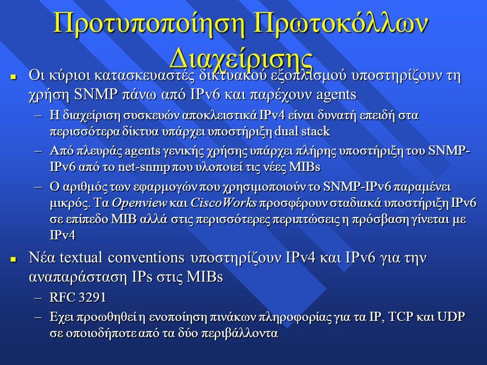 Προτυποποίηση Πρωτοκόλλων Διαχείρισης n Οι κύριοι κατασκευαστές δικτυακού εξοπλισμού υποστηρίζουν τη χρήση SNMP πάνω από IPv6 και παρέχουν agents –Η διαχείριση συσκευών αποκλειστικά IPv4 είναι δυνατή επειδή στα περισσότερα δίκτυα υπάρχει υποστήριξη dual stack –Από πλευράς agents γενικής χρήσης υπάρχει πλήρης υποστήριξη του SNMP- IPv6 από το net-snmp που υλοποιεί τις νέες MIBs –Ο αριθμός των εφαρμογών που χρησιμοποιούν το SNMP-IPv6 παραμένει μικρός.