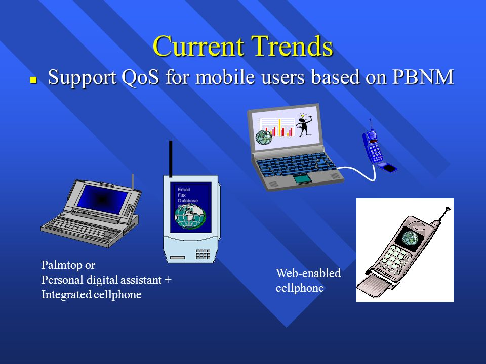 Current Trends n Support QoS for mobile users based on PBNM Palmtop or Personal digital assistant + Integrated cellphone Web-enabled cellphone