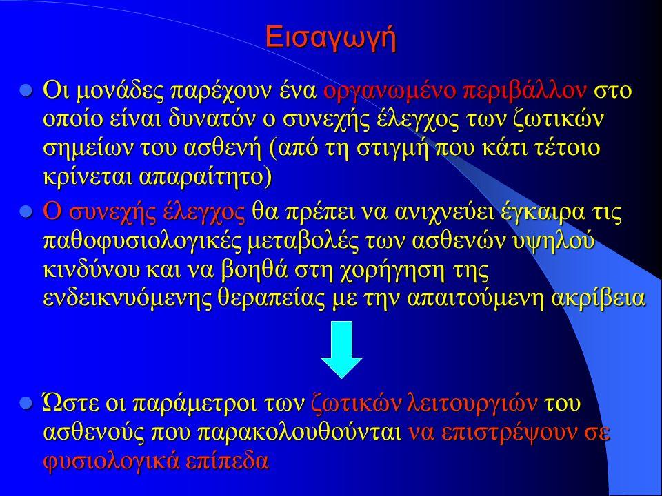 Εισαγωγή Οι μονάδες παρέχουν ένα οργανωμένο περιβάλλον στο οποίο είναι δυνατόν ο συνεχής έλεγχος των ζωτικών σημείων του ασθενή (από τη στιγμή που κάτι τέτοιο κρίνεται απαραίτητο) Οι μονάδες παρέχουν ένα οργανωμένο περιβάλλον στο οποίο είναι δυνατόν ο συνεχής έλεγχος των ζωτικών σημείων του ασθενή (από τη στιγμή που κάτι τέτοιο κρίνεται απαραίτητο) Ο συνεχής έλεγχος θα πρέπει να ανιχνεύει έγκαιρα τις παθοφυσιολογικές μεταβολές των ασθενών υψηλού κινδύνου και να βοηθά στη χορήγηση της ενδεικνυόμενης θεραπείας με την απαιτούμενη ακρίβεια Ο συνεχής έλεγχος θα πρέπει να ανιχνεύει έγκαιρα τις παθοφυσιολογικές μεταβολές των ασθενών υψηλού κινδύνου και να βοηθά στη χορήγηση της ενδεικνυόμενης θεραπείας με την απαιτούμενη ακρίβεια Ώστε οι παράμετροι των ζωτικών λειτουργιών του ασθενούς που παρακολουθούνται να επιστρέψουν σε φυσιολογικά επίπεδα Ώστε οι παράμετροι των ζωτικών λειτουργιών του ασθενούς που παρακολουθούνται να επιστρέψουν σε φυσιολογικά επίπεδα