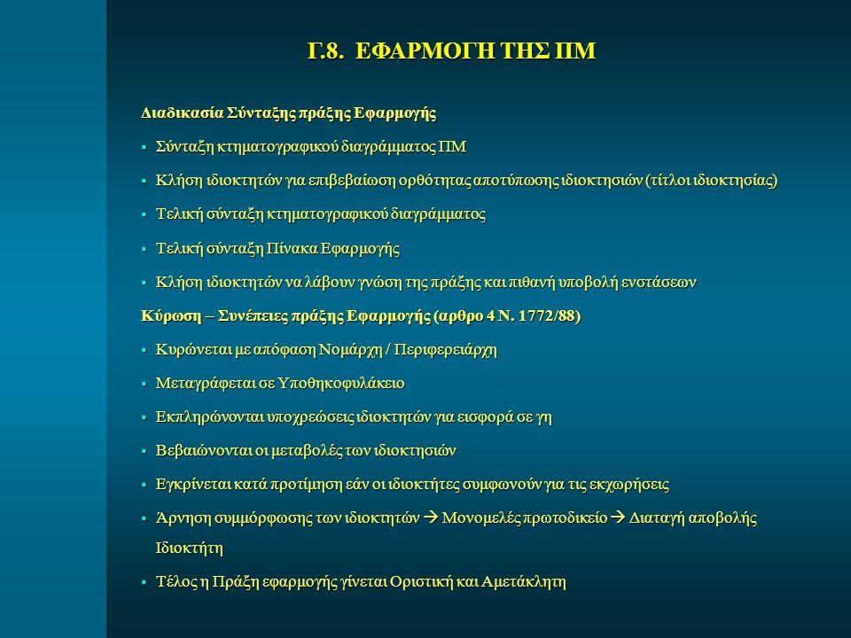 Διαδικασία Σύνταξης πράξης Εφαρμογής  Σύνταξη κτηματογραφικού διαγράμματος ΠΜ  Κλήση ιδιοκτητών για επιβεβαίωση ορθότητας αποτύπωσης ιδιοκτησιών (τί