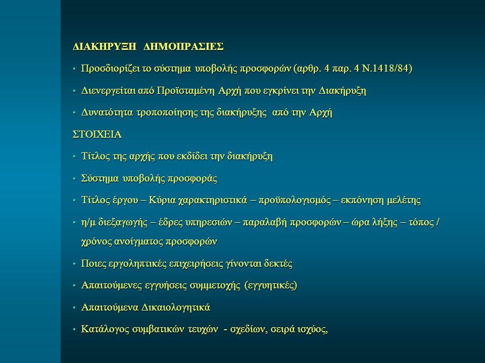 ΔΙΑΚΗΡΥΞΗ ΔΗΜΟΠΡΑΣΙΕΣ Προσδιορίζει το σύστημα υποβολής προσφορών (αρθρ. 4 παρ. 4 Ν.1418/84) Προσδιορίζει το σύστημα υποβολής προσφορών (αρθρ. 4 παρ. 4