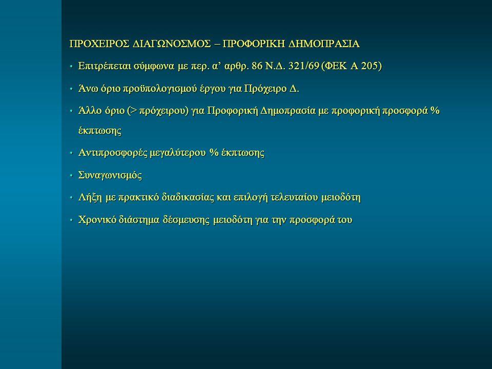 ΠΡΟΧΕΙΡΟΣ ΔΙΑΓΩΝΟΣΜΟΣ – ΠΡΟΦΟΡΙΚΗ ΔΗΜΟΠΡΑΣΙΑ Επιτρέπεται σύμφωνα με περ. α' αρθρ. 86 Ν.Δ. 321/69 (ΦΕΚ Α 205) Επιτρέπεται σύμφωνα με περ. α' αρθρ. 86 Ν