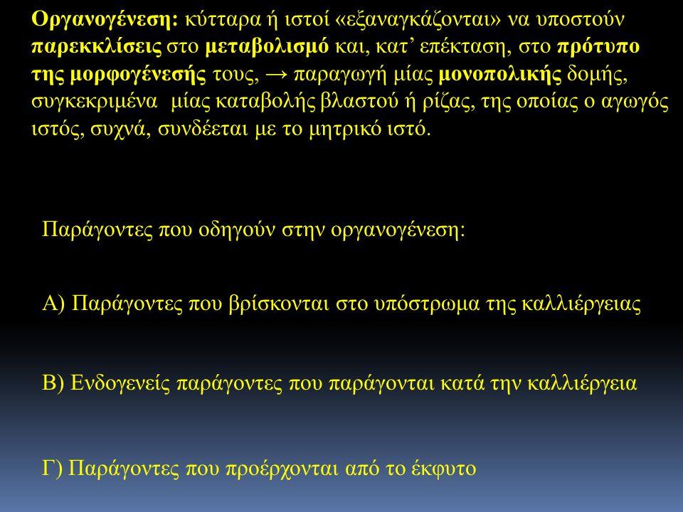Παράγοντες που οδηγούν στην οργανογένεση: Α) Παράγοντες που βρίσκονται στο υπόστρωμα της καλλιέργειας Β) Ενδογενείς παράγοντες που παράγονται κατά την