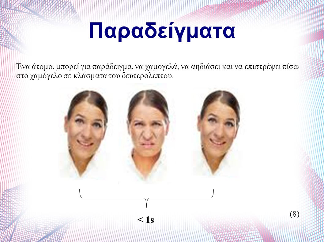 Παραδείγματα Ένα άτομο, μπορεί για παράδειγμα, να χαμογελά, να αηδιάσει και να επιστρέψει πίσω στο χαμόγελο σε κλάσματα του δευτερολέπτου.