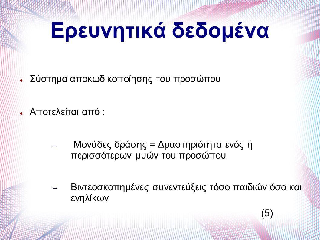 Ερευνητικά δεδομένα Σύστημα αποκωδικοποίησης του προσώπου Aποτελείται από :  Μονάδες δράσης = Δραστηριότητα ενός ή περισσότερων μυών του προσώπου  Βιντεοσκοπημένες συνεντεύξεις τόσο παιδιών όσο και ενηλίκων (5)
