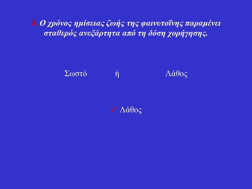 8. Ο χρόνος ημίσειας ζωής της φαινυτοΐνης παραμένει σταθερός ανεξάρτητα από τη δόση χορήγησης.