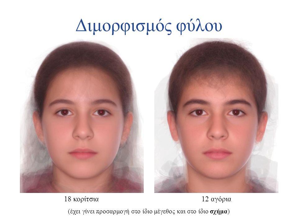 Διμορφισμός φύλου 18 κορίτσια12 αγόρια (έχει γίνει προσαρμογή στο ίδιο μέγεθος και στο ίδιο σχήμα)