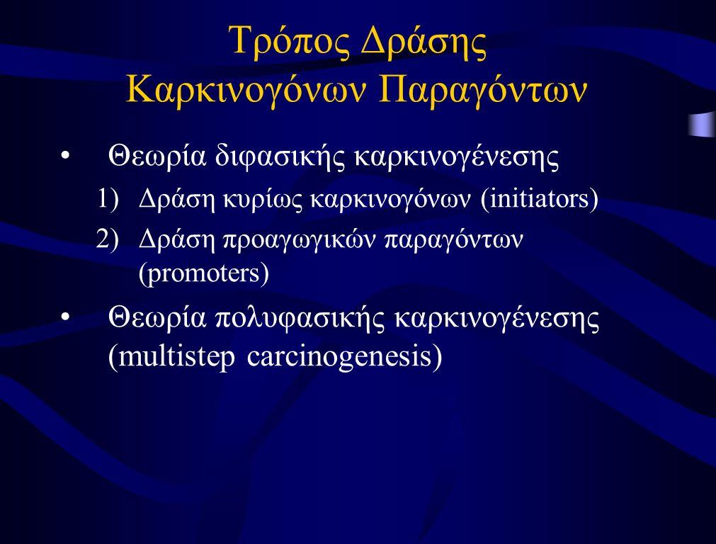 Τρόπος Δράσης Καρκινογόνων Παραγόντων Θεωρία διφασικής καρκινογένεσης 1)Δράση κυρίως καρκινογόνων (initiators) 2)Δράση προαγωγικών παραγόντων (promote