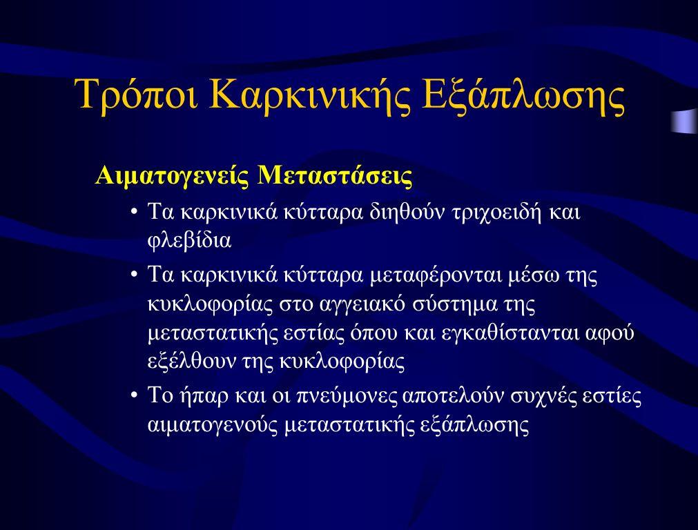 Τρόποι Καρκινικής Εξάπλωσης Λεμφογενείς Μεταστάσεις μεταφορά καρκινικών κυττάρων στους λεμφαδένες, οι οποίοι εμφανιζονται διογκωμένοι περιοχική λεμφαδενική επέκταση (προσβολή επιχώριων λεμφαδένων) –π.χ.
