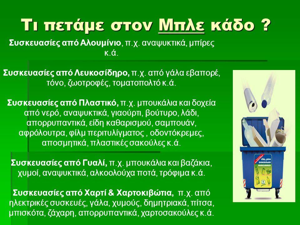 Τι πετάμε στον Μπλε κάδο ? Συσκευασίες από Αλουμίνιο, π.χ. αναψυκτικά, μπίρες κ.ά. Συσκευασίες από Λευκοσίδηρο, π.χ. από γάλα εβαπορέ, τόνο, ζωοτροφές