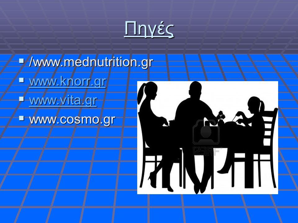 Πηγές  /www.mednutrition.gr  www.knorr.gr www.knorr.gr  www.vita.gr www.vita.gr  www.cosmo.gr