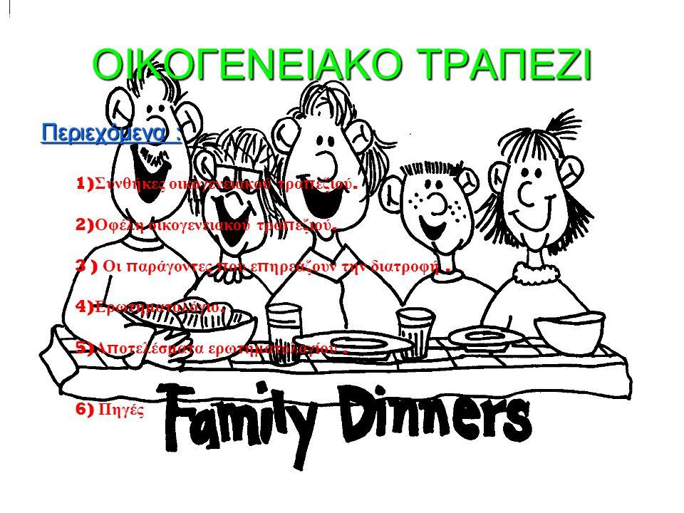 Συνθήκες οικογενειακού τραπεζιού Πολλοί άνθρωποι σήμερα τρώνε μονοί τους, λόγω της καθημερινής τους ρουτίνας και το γρήγορο ρυθμό ζωής.