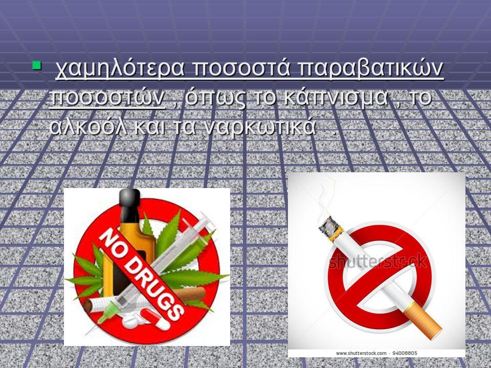  χαμηλότερα ποσοστά παραβατικών ποσοστών, όπως το κάπνισμα, το αλκοόλ και τα ναρκωτικά.