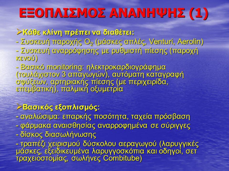 ΕΞΟΠΛΙΣΜΟΣ ΑΝΑΝΗΨΗΣ (2)  Βασικός εξοπλισμός (συνέχεια): - συσκευές τεχνητού αερισμού (ambu) και Τ-συστήματα - φορητές οβίδες οξυγόνου για τη μεταφορά ασθενών - αναπνευστήρες, μηχάνημα απινίδωσης  Προαιρετικός εξοπλισμός: - συσκευές θέρμανσης αίματος, κουβέρτες (βαμβακερές, από αλουμίνιο, με συσκευές θερμού αέρα).